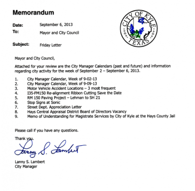 City Manager Friday Letter Memo